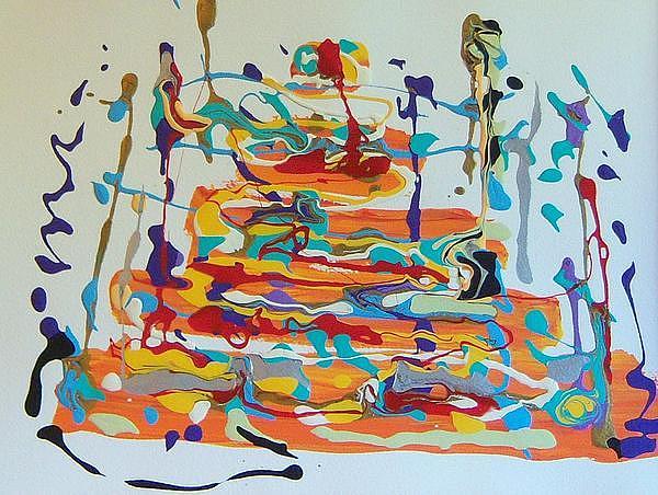 Abstract Rainbow Birthday Cake