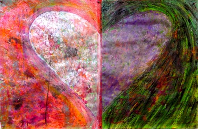 Divided Heart (Pink-Green)